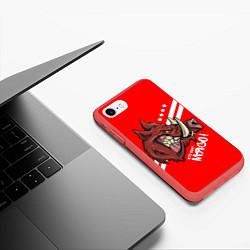 Чехол iPhone 7/8 матовый Кто мы? Мясо! цвета 3D-красный — фото 2