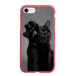 Чехол iPhone 7/8 матовый Черный котик цвета 3D-красный — фото 1