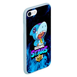 Чехол iPhone 7/8 матовый BRAWL STARS LEON SHARK цвета 3D-голубой — фото 2
