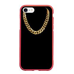 Чехол iPhone 7/8 матовый Золотая цепь цвета 3D-красный — фото 1
