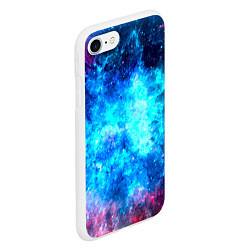 Чехол iPhone 7/8 матовый Голубая вселенная цвета 3D-белый — фото 2