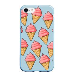 Чехол iPhone 7/8 матовый Мороженки цвета 3D-голубой — фото 1