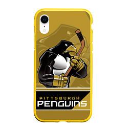Чехол iPhone XR матовый Pittsburgh Penguins цвета 3D-желтый — фото 1