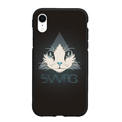 Чехол iPhone XR матовый Cat цвета 3D-черный — фото 1