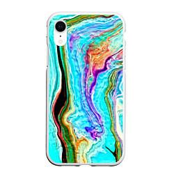 Чехол iPhone XR матовый Цветные разводы цвета 3D-белый — фото 1