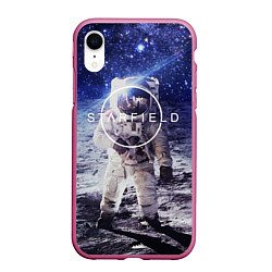 Чехол iPhone XR матовый Starfield: Astronaut цвета 3D-малиновый — фото 1