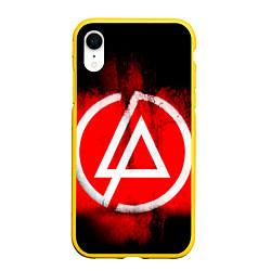 Чехол iPhone XR матовый Linkin Park: Red style цвета 3D-желтый — фото 1