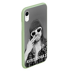 Чехол iPhone XR матовый Кобейн в очках цвета 3D-салатовый — фото 2