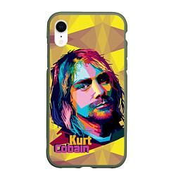 Чехол iPhone XR матовый Kurt Cobain: Abstraction цвета 3D-темно-зеленый — фото 1