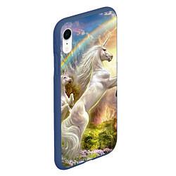 Чехол iPhone XR матовый Радужный единорог цвета 3D-тёмно-синий — фото 2