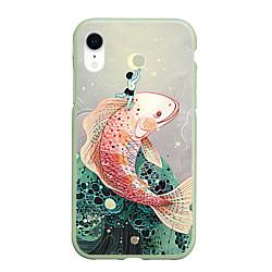 Чехол для iPhone XR матовый с принтом Рыба, цвет: 3D-салатовый, артикул: 10065041305903 — фото 1