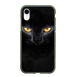 Чехол iPhone XR матовый Черная кошка цвета 3D-темно-зеленый — фото 1