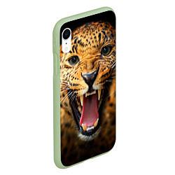 Чехол iPhone XR матовый Рык леопарда цвета 3D-салатовый — фото 2