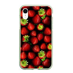 Чехол iPhone XR матовый Клубничка цвета 3D-салатовый — фото 1
