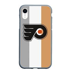 Чехол iPhone XR матовый Philadelphia Flyers цвета 3D-серый — фото 1