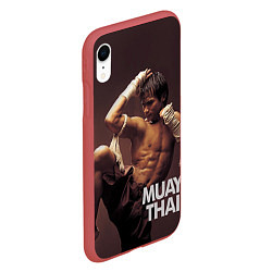Чехол iPhone XR матовый Муай тай боец цвета 3D-красный — фото 2