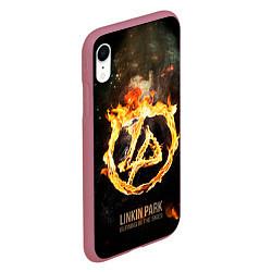 Чехол iPhone XR матовый Linkin Park: Burning the skies цвета 3D-малиновый — фото 2