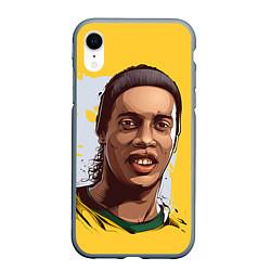 Чехол iPhone XR матовый Ronaldinho Art цвета 3D-серый — фото 1