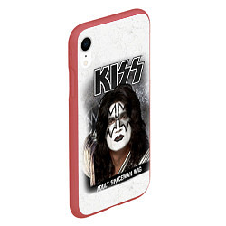 Чехол iPhone XR матовый KISS: Adult spaceman wig цвета 3D-красный — фото 2