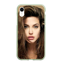 Чехол iPhone XR матовый Анжелина Джоли цвета 3D-салатовый — фото 1