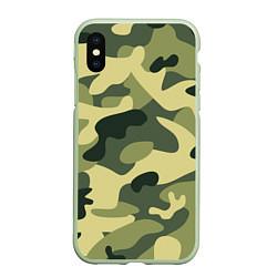 Чехол iPhone XS Max матовый Камуфляж: зеленый/хаки цвета 3D-салатовый — фото 1