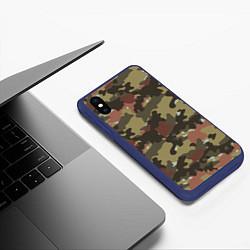 Чехол iPhone XS Max матовый Камуфляж: коричневый/хаки цвета 3D-тёмно-синий — фото 2