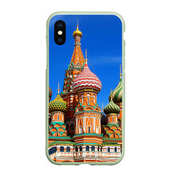 Чехол iPhone XS Max матовый Храм Василия Блаженного цвета 3D-салатовый — фото 1