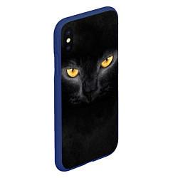 Чехол iPhone XS Max матовый Черная кошка цвета 3D-тёмно-синий — фото 2