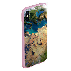 Чехол iPhone XS Max матовый Земля цвета 3D-розовый — фото 2
