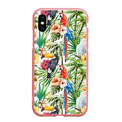Чехол iPhone XS Max матовый Попугаи в тропиках цвета 3D-баблгам — фото 1