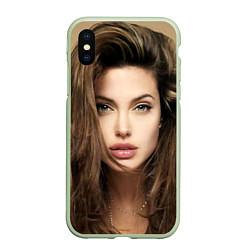 Чехол iPhone XS Max матовый Анжелина Джоли цвета 3D-салатовый — фото 1