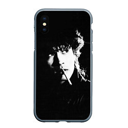 Чехол iPhone XS Max матовый Цой с сигаретой цвета 3D-серый — фото 1