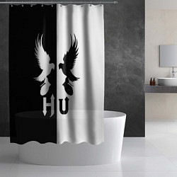 Шторка для душа HU: Black & White цвета 3D-принт — фото 2