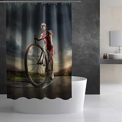 Шторка для душа Велогонщик цвета 3D-принт — фото 2