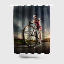 Шторка для душа Велогонщик цвета 3D — фото 1