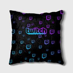 Подушка квадратная Twitch: Neon Style цвета 3D-принт — фото 1