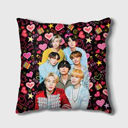 Подушка квадратная I Love BTS цвета 3D — фото 1