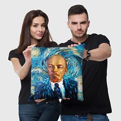 Подушка квадратная Ленин Ван Гога цвета 3D-принт — фото 2