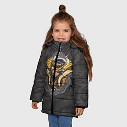 Детская зимняя куртка для девочки с принтом Камуфляжная обезьяна, цвет: 3D-черный, артикул: 10100551406065 — фото 2