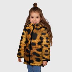 Куртка зимняя для девочки Шкура леопарда цвета 3D-черный — фото 2