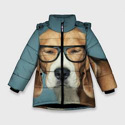 Куртка зимняя для девочки Бигль в очках цвета 3D-черный — фото 1