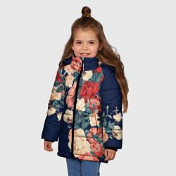 Куртка зимняя для девочки Fashion flowers цвета 3D-черный — фото 2