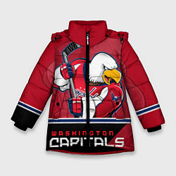 Детская зимняя куртка для девочки с принтом Washington Capitals, цвет: 3D-черный, артикул: 10106983706065 — фото 1