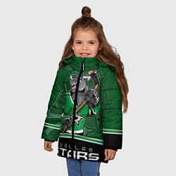 Детская зимняя куртка для девочки с принтом Dallas Stars, цвет: 3D-черный, артикул: 10106986406065 — фото 2