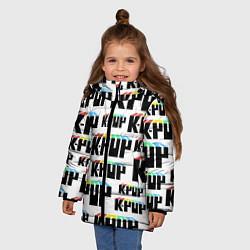 Куртка зимняя для девочки K-pop Pattern цвета 3D-черный — фото 2