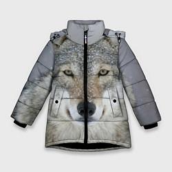 Куртка зимняя для девочки Милый волк цвета 3D-черный — фото 1