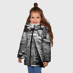 Куртка зимняя для девочки Железная дорога цвета 3D-черный — фото 2