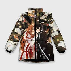 Куртка зимняя для девочки Мастера меча цвета 3D-черный — фото 1