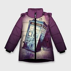 Куртка зимняя для девочки Перемещение во времени цвета 3D-черный — фото 1