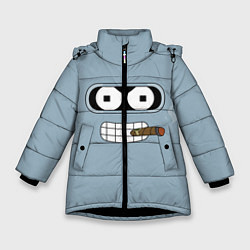 Куртка зимняя для девочки Лицо Бендера цвета 3D-черный — фото 1